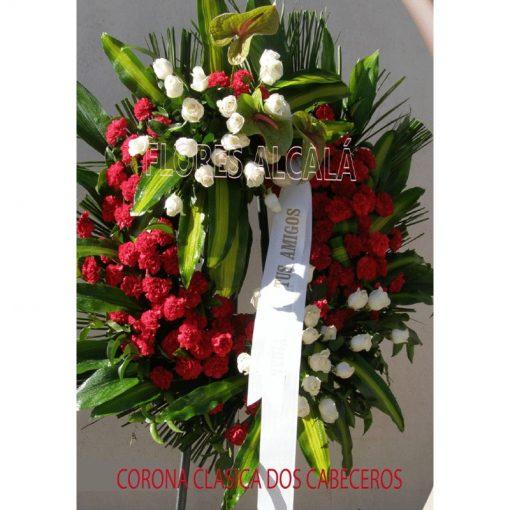 Corona Clasica con Dos Cabeceros con Flores importantes y base de Clavel