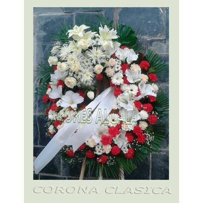 Corona Clasica con 1 Cabecero con  Rosas y base de Clavel