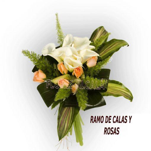 Ramo de Calas y Rosas con Verdes de Temporada