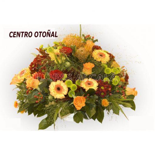 Centro Otoñal redondo en tonos calidos y verdes variados de temporada