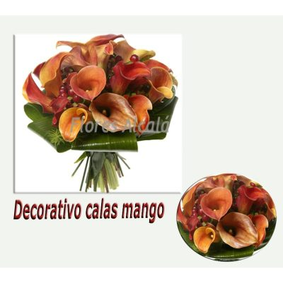 Ramo de Novia con Calas Mango y Verdes Ornamentales