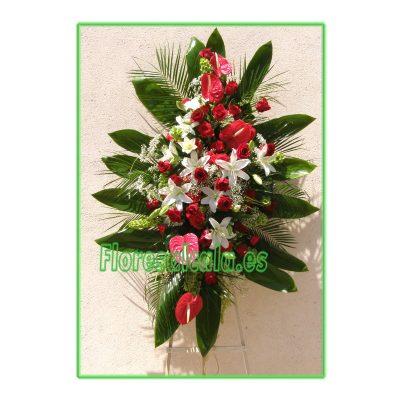 Palma Grande de Rosas Y Liliúm en color Rojo y Blanco