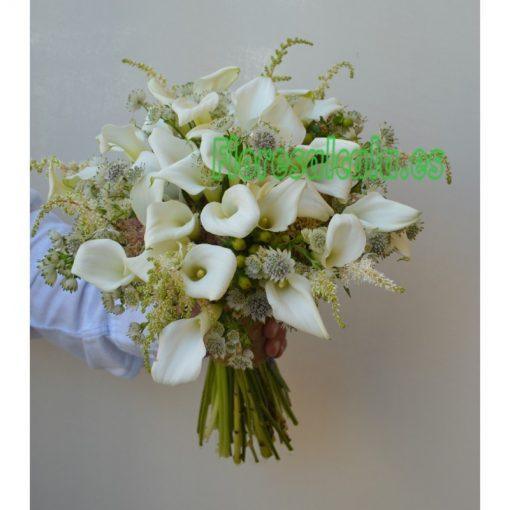 Ramo de Novia con Callas blancas y Flores Silvestres